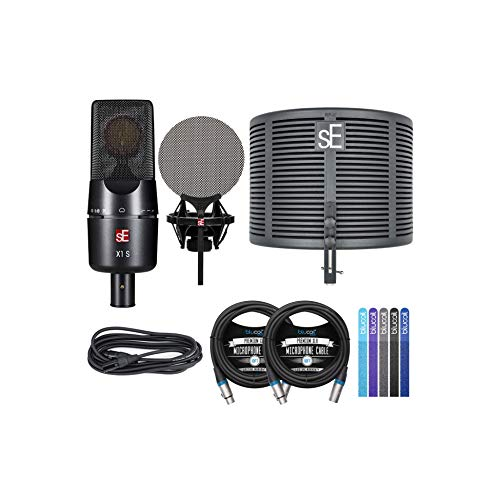 sE Electronics X1S Condenser Microphone Studio Bundle for Vocals, Acoustic/Electric Guitars, Kick Drums Bundle with Blucoil 2-Pack of 10-FT Balanced XLR Cables, and 5-Pack of Reusable Cable Ties