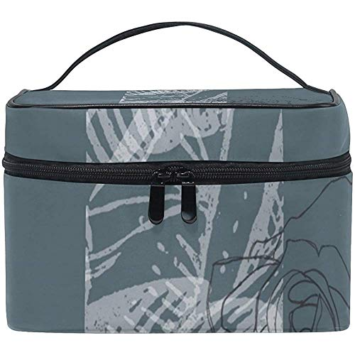 Dusty Blue Floral Design Cosmetic Bag Toiletry Bags Makeup Organizer Portable Multifunctional Case-L716-165P