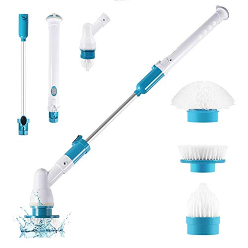 YUGMI SHOP Plastic Electric Spin Scrubber Machine Floor Cleaning Bathroom Tiles Cleaner Tool with 3 Replaceable Brushes and Long Extension Handle (Rechargeable, Large Size, White and Blue)