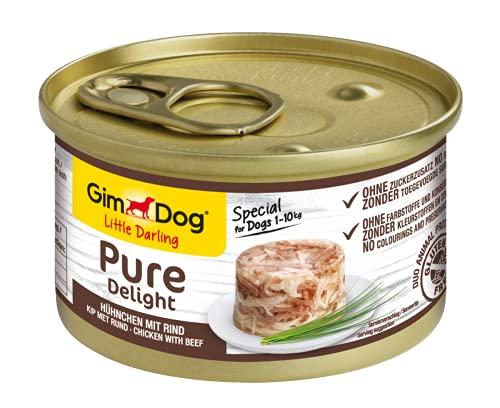 GimDog Pure Delight, pollo con vacuno - Snack para perros rico en proteínas, con carne tierna en deliciosa gelatina - 12 latas (12 x 85 g)