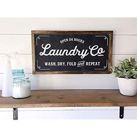 Wi33bbon Panneau de buanderie moderne en bois avec inscription en anglais «Laundry Co», Bois dense, 30cm*55cm