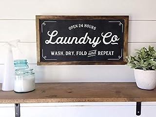 Wi33bbon Panneau de buanderie moderne en bois avec inscription en anglais «Laundry Co», Bois dense, 20cm*29cm