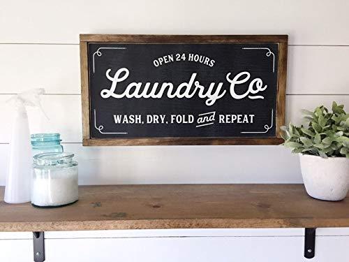 Wi33bbon Lavandería Co Sign Modern Farmhouse - Letrero de madera con fijación de magnolia superior inspirado en Joanna Gaines para decoración de lavandería