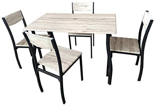 SF SAVINO FILIPPO Set Completo da Pranzo Cucina Tavolo con 4 posti sedie in Ferro e Metallo MDF colorazione Finto Legno per Interno Sala Veranda casa Portico
