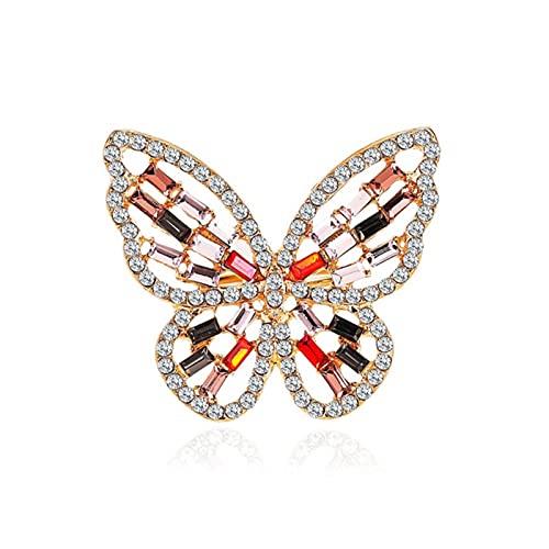 CXWK Anillo de Mariposa Grande de Moda, Anillos de Dedo de Cristal de Diamantes de imitación de Lujo, Anillos de Compromiso para Boda, Anillos Femeninos, joyería Animal