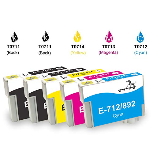ONINO Reemplazo para T0711 T0712 T0713 T0714 T0715 Cartuchos de Tinta Compatible para X110 SX115 SX200 SX205 SX209 SX210 SX410 SX415 SX510W SX515W SX600FW SX610FW D78 D92 D120 DX400 DX4000