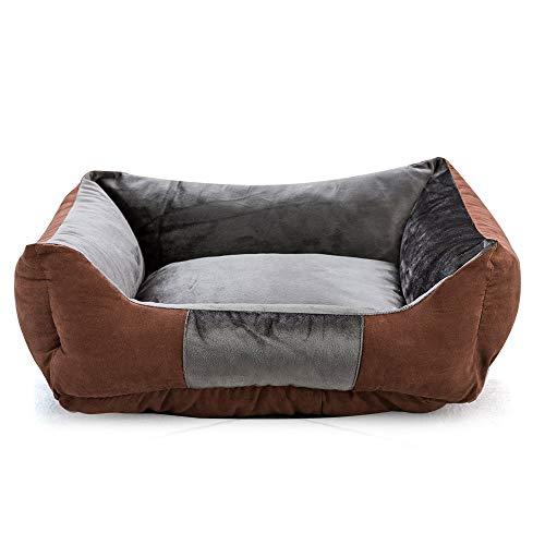 Decdeal hondenbed hondensofa hondenkussen met verhoogde rand wasbaar en antislip bodem gezellig pluche vierhoekig huisdierbed