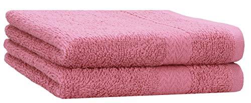 Betz 2 Stück Strandtücher Duschtücher Set Größe 70x140 cm Duschhandtuch Badetuch Strandtuch Handtuch Premium 100% Baumwolle Farbe Altrosa