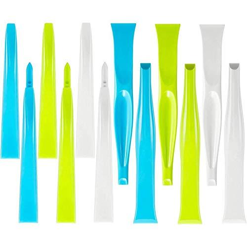 Gaoominy 12 Stuecke Kunststoff Steif Schaber Mehrzweck Schaber Flasche Dosenoeffner Gum Schaber Etikette Entferner Fuer Kueche Rille Ecke Fenster Tuer Spur