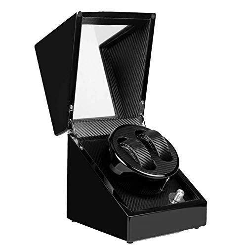 Watchwinder para Relojes automáticos 2 + 0 Reloj Soportes de visualización Devanado automático de Reloj y Abrir la Tapa y Stop-5 Modos Rotación de Reloj enrollador (Color : Black)