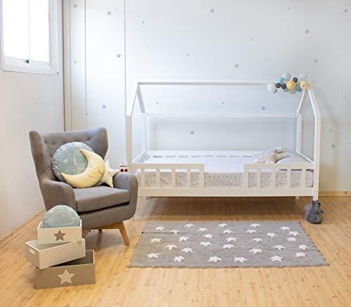 MUEMUE Cama Infantil Casita Montessori Casita con Barandilla, Blanco (Producto para bebé)