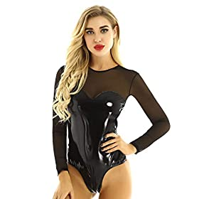 LiiYii Women One Piece Mesh Sheer Leather Spliced Long Sleeves Leotard Bodysuit Clubwear