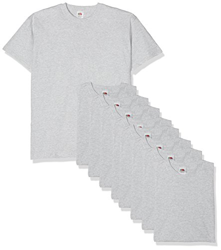Fruit of the Loom Valueweight Short Sleeve Camiseta, Gris, XL (Pack de 10) para Hombre