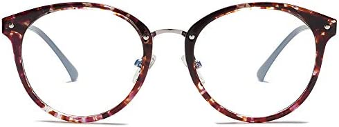 SOJOS Retro Big Round Blue Light Computer Glasses TR90 Eyewear Frame Ashley SJ9001 with Purple product image