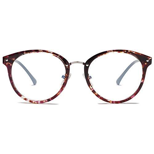 SOJOS Rund Groß Brille mit Blaulichtfilter ohne Sehstärke Anti-Blaulicht Gläser Brille SJ9001 Ashley mit Lila Marmor Rahmen/Anti-Blue Light Lens