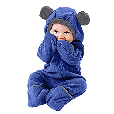 Christmas Deals?Infant Toddler Baby Girls Boys Outfit -Cartoon Ears Hoodie Romper Zip Clothes Jumpsuit