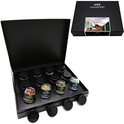 Hallingers 12er Tee-Geschenk-Set mit Tee aus aller Welt (120g) - Klassisches Tee-Set xMas Retro (Design-Karton) - zu Weihnachten
