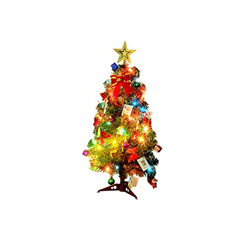 """Lulalula - Mini alberi di Natale artificiali, con luci multicolore, da tavolo, per decorazioni fai-da-te, dai 46 ai 61 cm (18/24""""), Sisal, Verde., A1 - 34Pcs"""