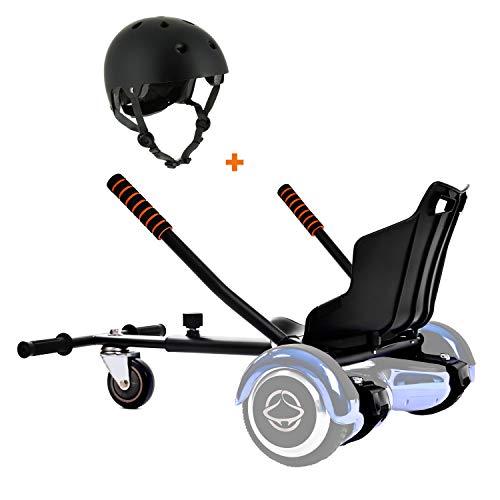 Securia Pro Hoverboard Sitz für 6, 5-10 Zoll, Self Balance Scooter + Skatehelm Für Kinder (Schwarzer Helm)