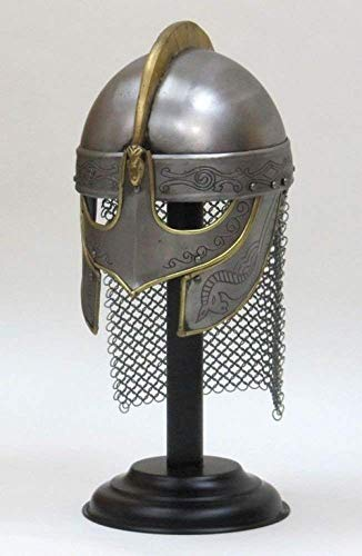 Decor&Style Fully Wearable Viking Helmet with l Premium Quality with Fitted Leather Liner l Etching and Chain Mail