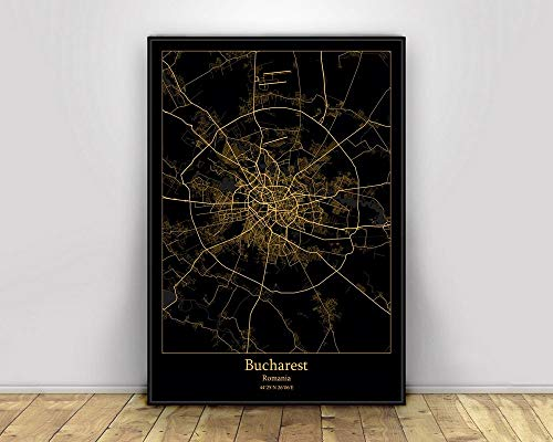XXFF Canvas Print,Bucharest City Map Black and Gold On Canvas Printing Wall Art Picture,for Living Room Bedroom Decoration Modern Unframed Artwork Decor,5070Cm