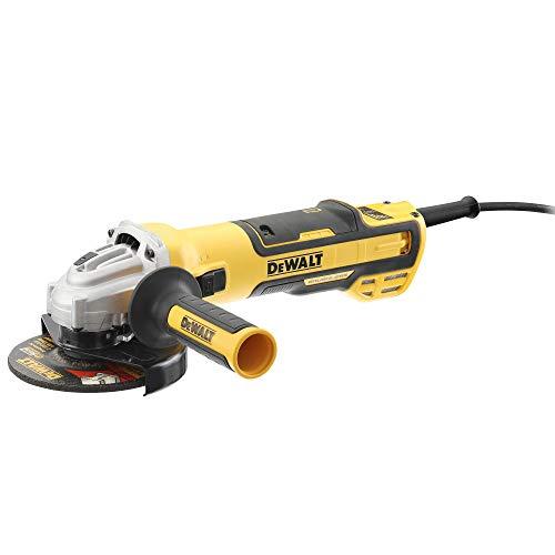 DEWALT DWE4357-QS - Mini-amoladora sin escobillas 125mm 1.700W 2.200-10.500 rpm Electrónica + Embrague + Arranque Suave + Freno + Bloqueo y re-arranque + Empuñadura Anti-vibración