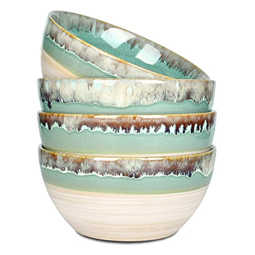 Bosmarlin Stoneware Soup Bowl Set of 4, 26 Oz, Cereal Bowl for Oatmeal, Salad, Dishwasher and Microwave Safe, Reactive Glaze (Green, 6 in)