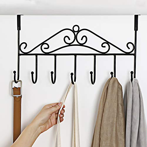 Over Door Hanger with 7 Hooks,Metal Over the Door Towel Hook,Decorative Overdoor Organizers ,Hanging Storage Rack for Hat,Coats,Purses,Scarves,Clothes,Jackets,Belt,Bedroom,Bathroom,Closet (Black)
