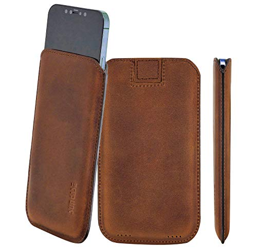 Suncase Original Leather Case Compatible with iPhone 12 Mini (5.4 Inches) Ultra Slim Leather Protective Case with Pull Tab in Antique Coffee