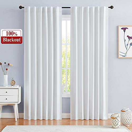 Central Park 100% Greyish White Blackout Window Curtain Panels Backtab Rod Pocket Bedroom Microfiber Thermal Coating Room Window Treatment Sets 2 Panels (W50 x L95 x2 inches, Greyish White)