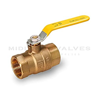 Midline Valve 827T256-NL Premium Full Port Ball Valve, Brass, 3/4 in. FIP x 3/4 in. FIP by Midline Valve