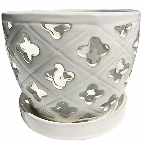 Better-way Orchid Pots with Holes 8 in Round Ceramic Flower...
