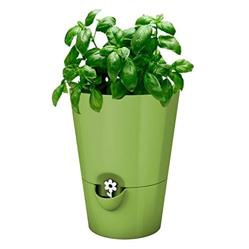 Emsa Kräutertopf für frische Kräuter, Selbstbewässerung, Wasserstandsanzeiger, Ø 13 cm, Hellgrün, Fresh Herbs, 517531