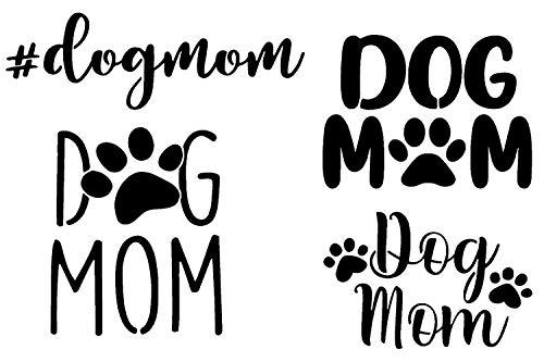 Dog Mom Decal 4 Pack: Hashtag Dogmom, Dog Mom with Paw, Bold, Cursive (Black)