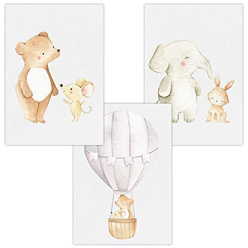 Wandbilder 3er Set für Baby & Kinderzimmer Deko Poster Freunde & Heißluftballon   Kunstdruck DIN A4 ohne Rahmen und Dekoration (Freunde & Heißluftballon, Bär, Maus, Elefant, Hase)
