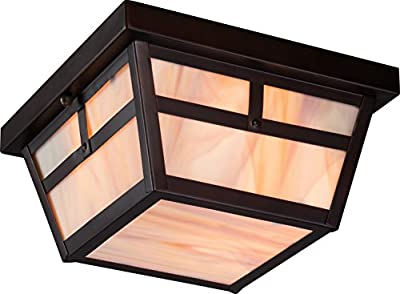 Nuvo Lighting Tanner Large One Light Wall Lantern 100-watt A19 Outdoor Porch and Patio Lighting with Honey Stained Glass
