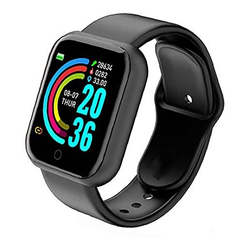 nJiaMe Smart Watch Y68 Wasserdicht Herzfrequenz-Test Big Screen-Eignung-Uhr für Männer Frauen Kompatibel mit Andriod IOS Schwarz