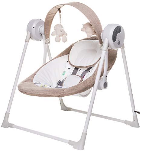 4baby Swing 7060 - Columpio y balancín eléctrico con temporizador, arco de juegos y música, color beige