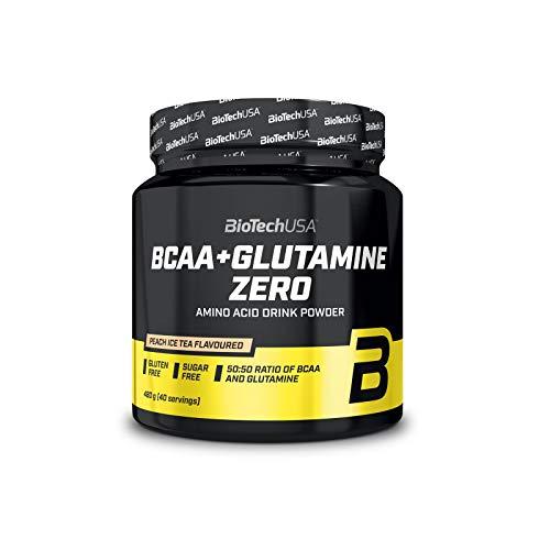 BioTech USA BCAA + Glutamine Zero Confezione da 1 x 480g Rigenerazione Muscolare - Aminoacidi a Catena Ramificata (Lemon)