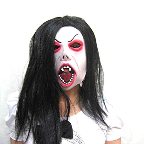 TTCXDP Latex Masker, Halloween Masker Horror Ghost Festival Vrouwelijke Ghost Horror Bloeden Haar Rood Oog Enge Party Rol Spelen Volwassen Mannen En Vrouwen Prop Kostuum