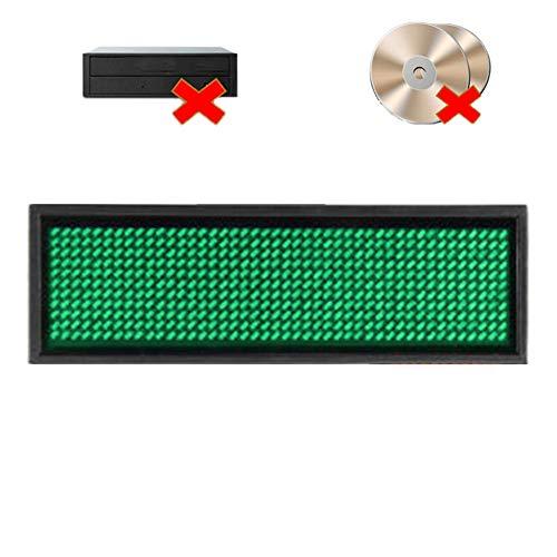 Ausweise, LED-Namensschild, wiederaufladbare LED-Abzeichen, Built-In-Software für Windows, keine Notwendigkeit, CD & Treiber, Visitenkarte Bildschirm-Zeichen (Green)