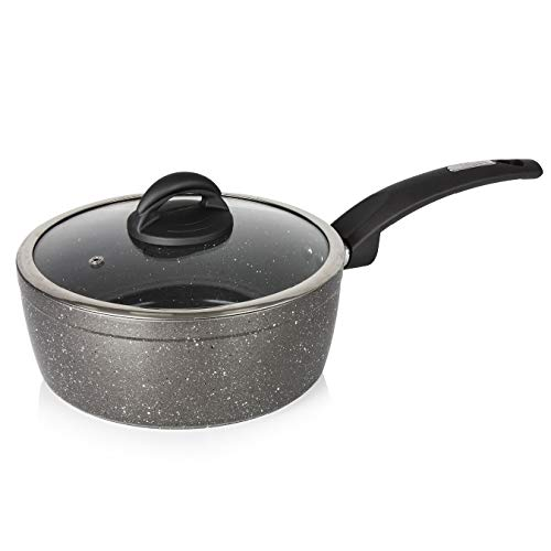 Tower Cerastone T81219 Forged Saucepan with Non-Stick Coating and Soft Touch Handle,22cm, Graphite