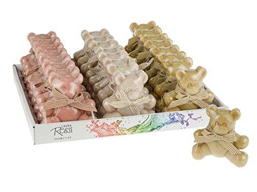 Savon petit ours Lot de 3 savons différents avec noeud papillon, poids 100gr, dimensions 8x2x9cm, 3 couleurs vert blanc et rose