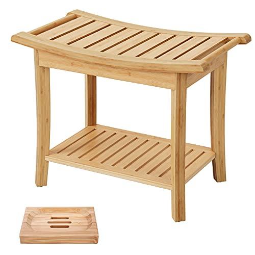 Duschhocker Holz Sitzhocker mit Stauraum Sitzbank Bambus Badezimmermöbel Badezimmer Robuster Rutschfester HBT: 60x33x46 cm