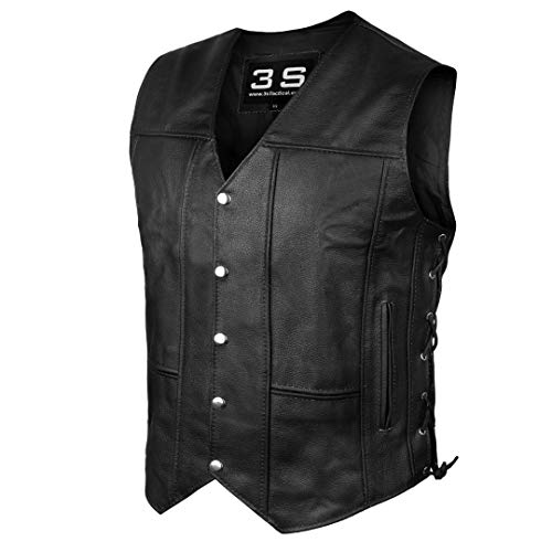 3S Motorcycle Biker Concealed Carry Leather Vest (Black, 2XL)