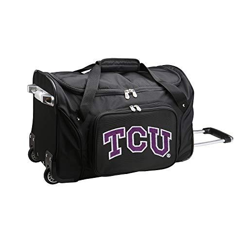 NCAA TCU Horned Frogs Wheeled Duffel Bag, 22-inches, Black