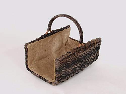 Prinidor panier à bois rectangulaire en rotin amovible avec anse et doublure en toile de jute
