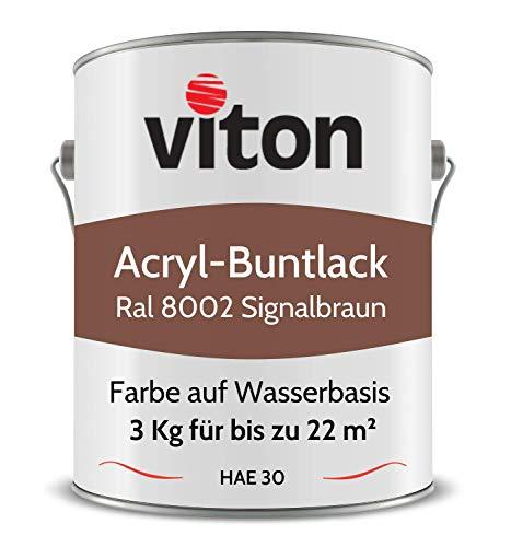 Buntlack von Viton - 3 Kg Braun - Seidenmatt - Wetterfest für Außen und Innen - 2in1 Grundierung & Lack - HAE 30 - Nachhaltige Farbe auf Wasserbasis für Holz, Metall & Stein - RAL 8002 Signalbraun