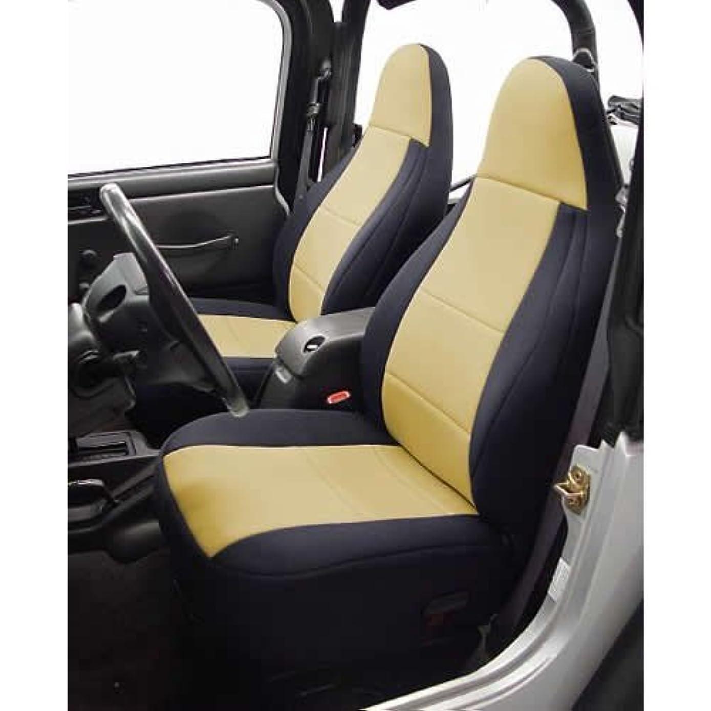 Coverking Custom Fit Seat Cover for Jeep Wrangler TJ 2-Door - (Neoprene, Black/Tan) by Coverking