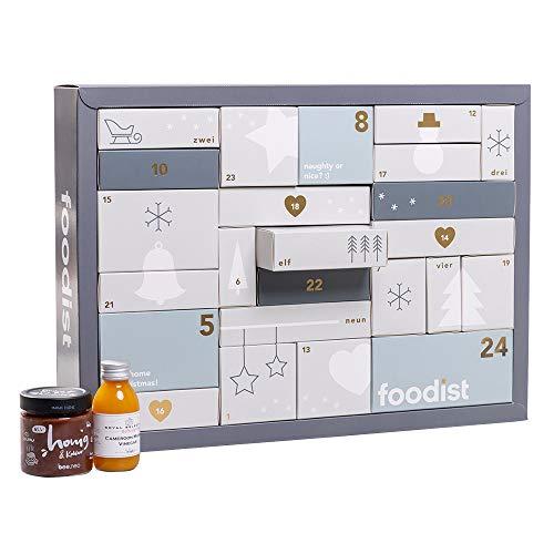 Foodist Premium Adventskalender 2020 - mit 24 leckeren Gewürzen, Ölen, Saucen, Likör, Tee, Snacks wie Nüssen, Schokolade - ausgefallenes Geschenk für erwachsene Feinschmecker inkl. Rezept-Booklet